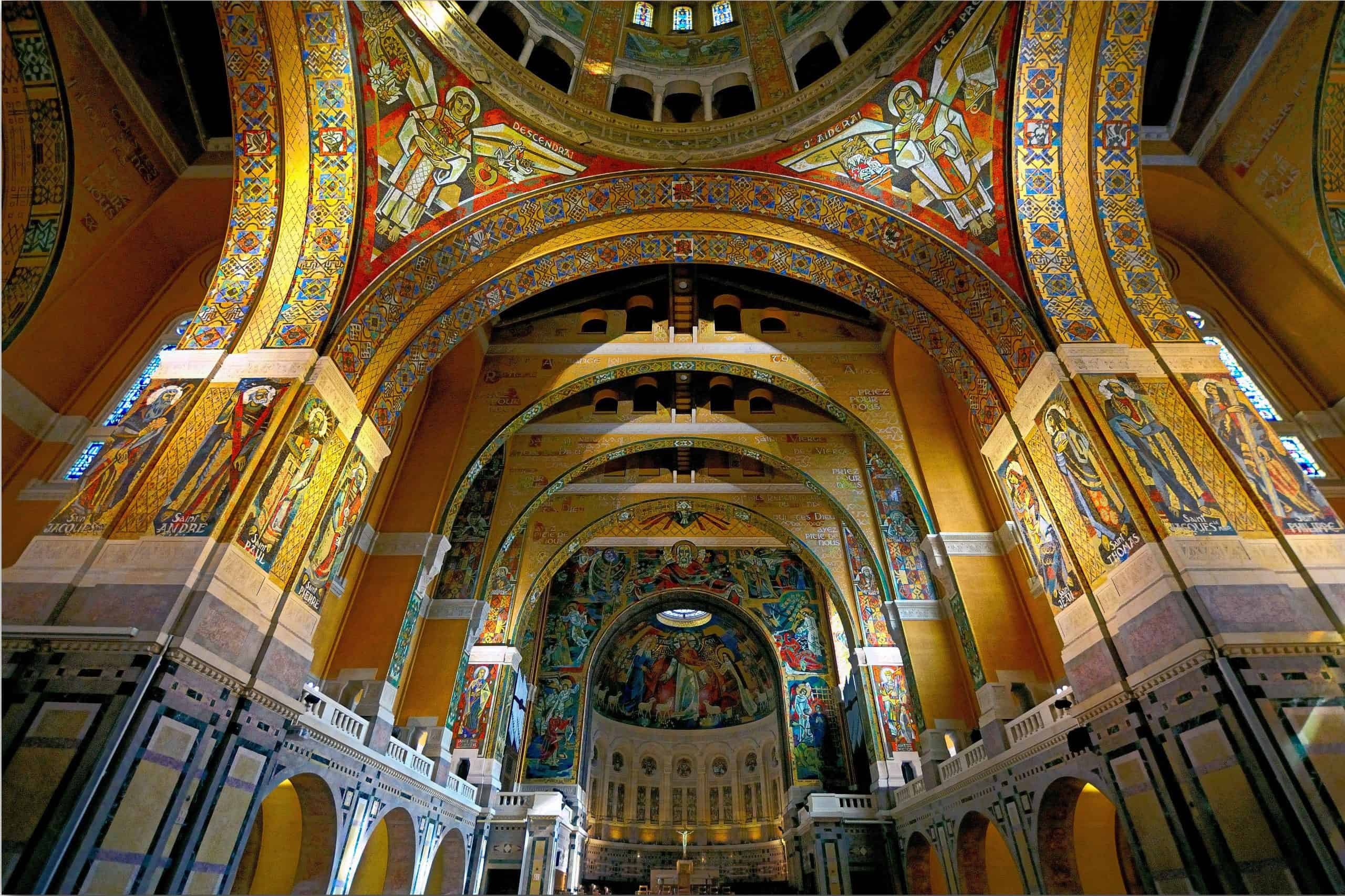 Inside the Basilica of Saint Therese of Lisieux, one of the top France pilgrimage sites.