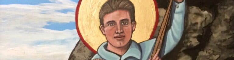 Close up of part the icon of Blessed Pier Giorgio Frassati painted by artist Kelly Latimore.