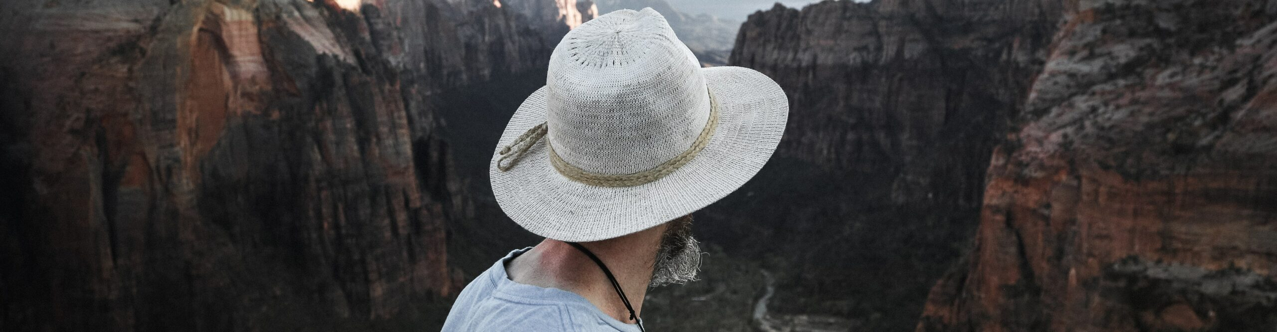 A pilgrim with a wide-brimmed hat stands looking out over a mountain range.
