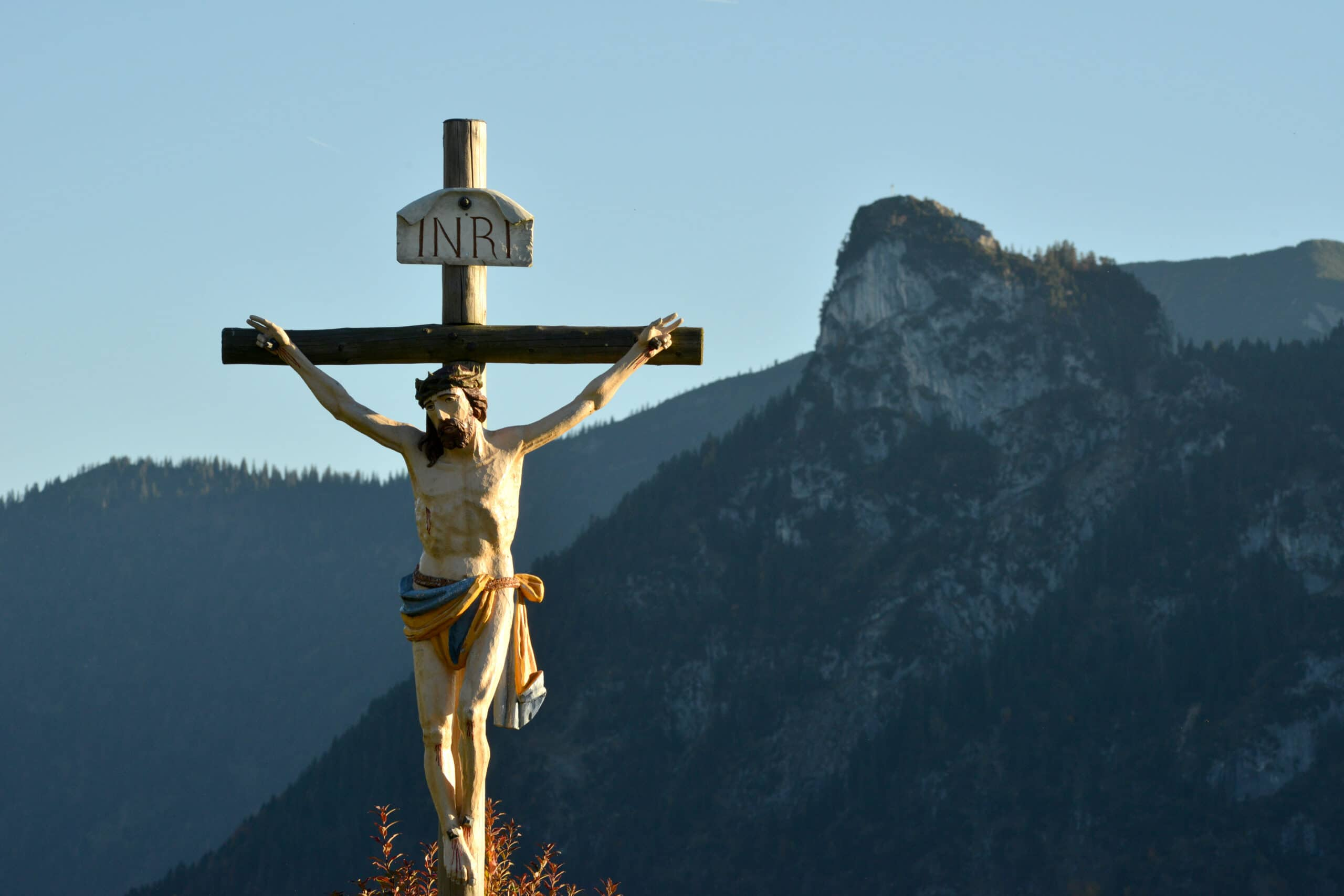 A large crucifix is seen in Oberammergau, Germany, where Father Eric will lead a pilgrimage in July, 2022.