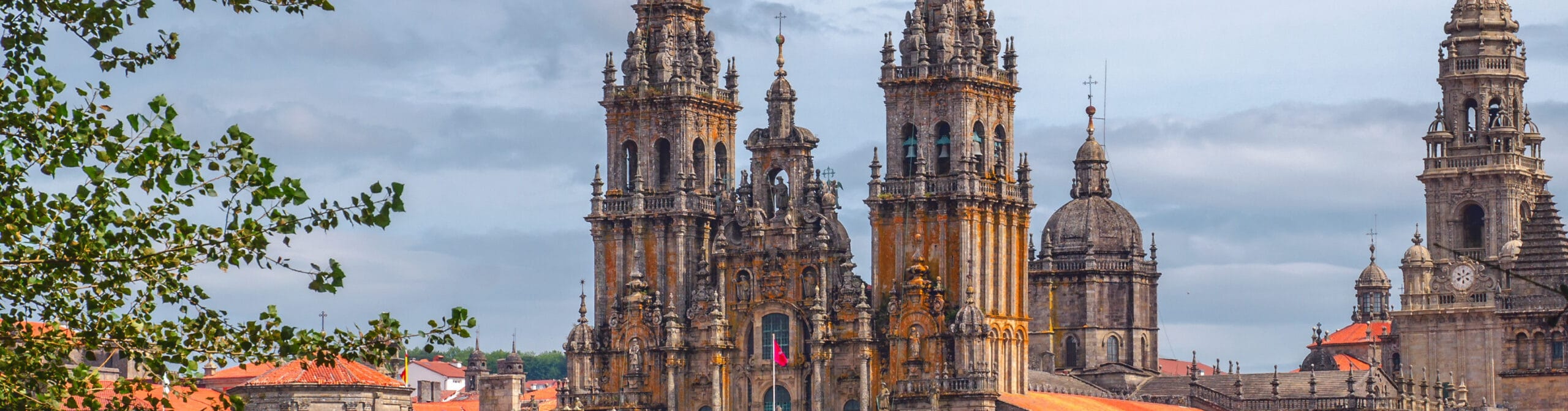 The Cathedral of Santiago de Compostela - the destination of Xacobeo 2021 - is seen from afar