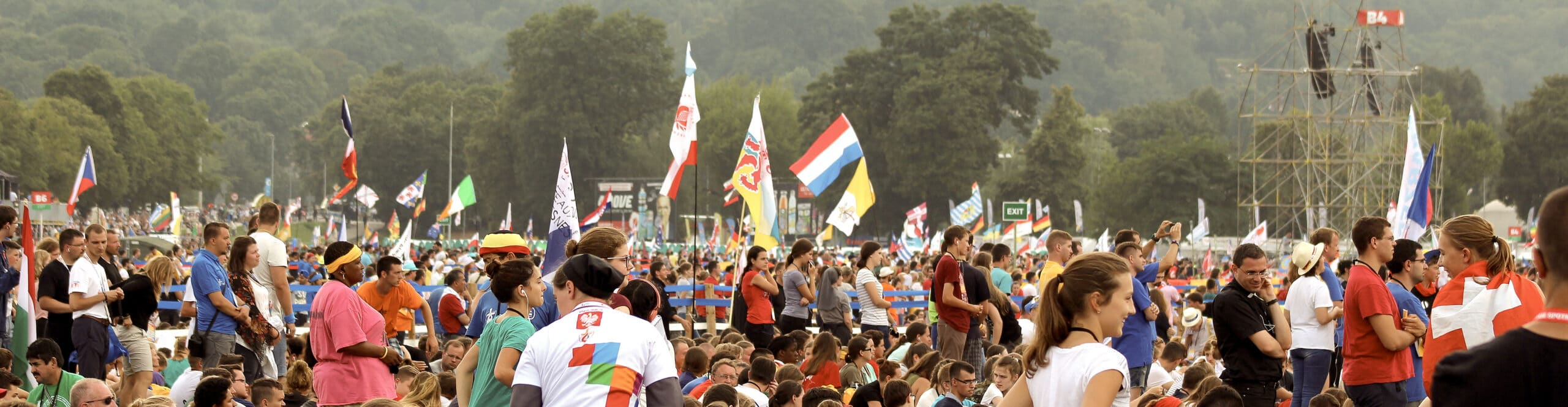 A diverse crowd of pilgrims at World Youth Day