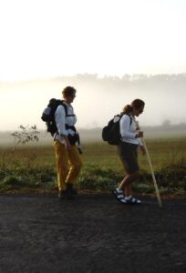 Pilgrims walk along the Camino together